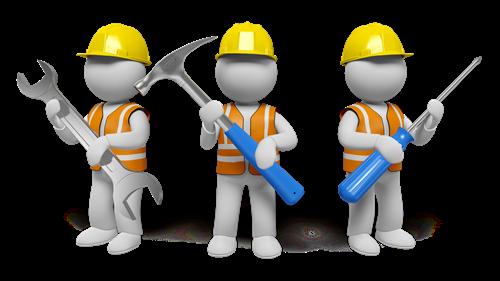 Ilustracja trzech postaci z narzędziami